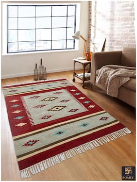 ROMEE High Quality Cotton Chenille Dhurrie/Rug For Home - Maroon