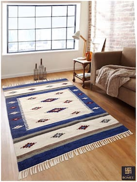 ROMEE High Quality Cotton Chenille Dhurrie/Rug For Home -Multi
