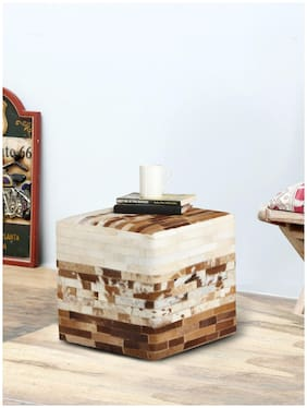 Romee Leather Square Stool/Ottoman/Pouffe For Living Room