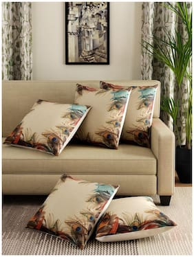 Romee Multicolor Polyester Jute Fabric Peacock Feather Print Cushion Cover 16 x 16 (Set of 5)