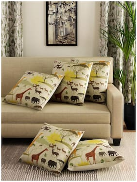 Romee Multicolor Polyester Jute Fabric Jungle Book Print Cushion Cover 16 x 16 (Set of 5)