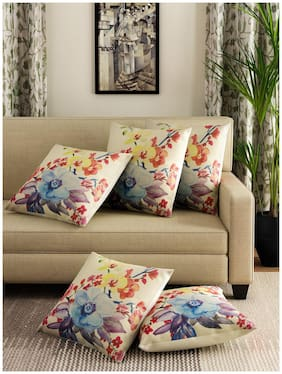 Romee Multicolor Polyester Jute Fabric Blue Star Flower Print Cushion Cover 16 x 16 (Set of 5)