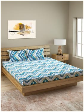 ROMEE Cotton Geometric Queen Size Bedsheet 144 TC ( 1 Bedsheet With 2 Pillow Covers , Blue )