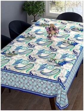 Romee Paisley Printed Cotton Dining Table Cover 6 Seater With Napkin - Blue & White