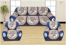 ROMEE Polyester Fabric Floral Design Sofa Covers Set of 5 Seater