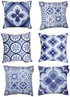 ROMEE Polyester Velvet Fabric Floral Cushion Cover Set of 6