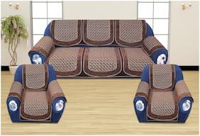 ROMEE Polyester Fabric Geometric Design Sofa Covers Set of 5 Seater