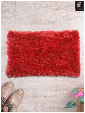 Romee Polyester Shaggy Doormat for Home 16x 24 - Red