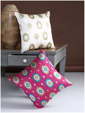 ROMEE Motif Polyester Gold & Pink Cushion Cover ( Regular , Pack of 2 )