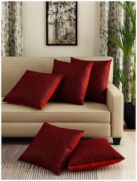 ROMEE Printed Cotton Red Cushion Cover ( Regular , Pack of 5 )