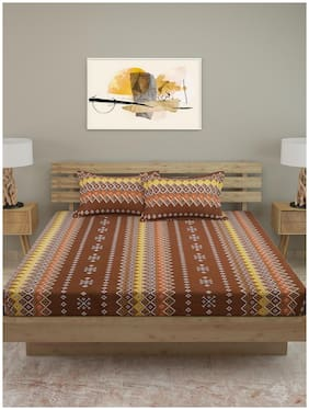 ROMEE Cotton Geometric Queen Size Bedsheet 120 TC ( 1 Bedsheet With 2 Pillow Covers , Brown )