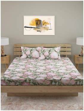 ROMEE Cotton Floral King Size Bedsheet 250 TC ( 1 Bedsheet With 2 Pillow Covers , Pink )