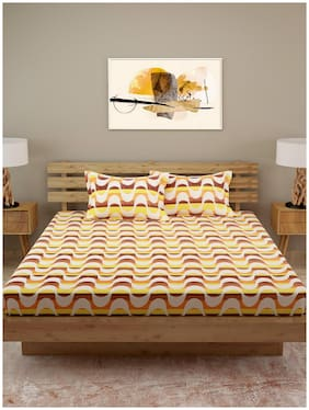 ROMEE Cotton Abstract Queen Size Bedsheet 120 TC ( 1 Bedsheet With 2 Pillow Covers , Yellow )