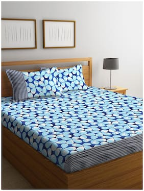 ROMEE Cotton Floral Queen Size Bedsheet 144 TC ( 1 Bedsheet With 2 Pillow Covers , Blue )
