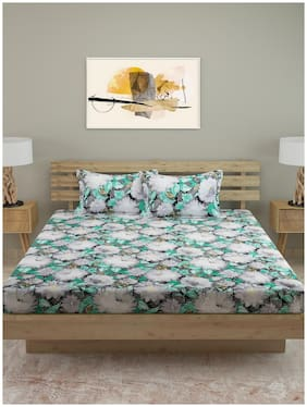 ROMEE Cotton Floral King Size Bedsheet 250 TC ( 1 Bedsheet With 2 Pillow Covers , Multi )