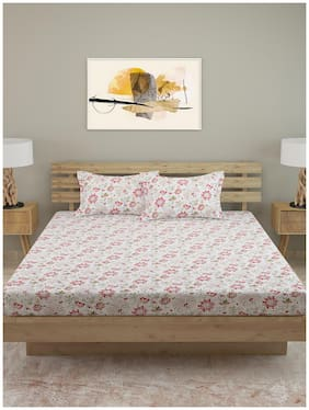 ROMEE Satin Floral Queen Size Bedsheet 250 TC ( 1 Bedsheet With 2 Pillow Covers , White )
