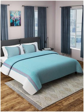 ROMEE Cotton Striped Double Size Bedsheet 400 TC ( 1 Bedsheet With 2 Pillow Covers , Turquoise )