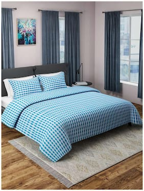 ROMEE Poly Cotton Checkered Double Size Bedsheet 400 TC ( 1 Bedsheet With 2 Pillow Covers , Turquoise )
