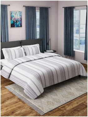 ROMEE Cotton Striped Double Size Bedsheet 400 TC ( 1 Bedsheet With 2 Pillow Covers , White )