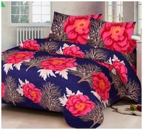 P. S. DECOR 250 Abstract Flat King Bedsheet ( Blue , Pack of 3 )