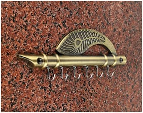 Roselaef Exclusive Lord Krishna'S Flute And Peacock Quills Key Stand/Hanger/Holder