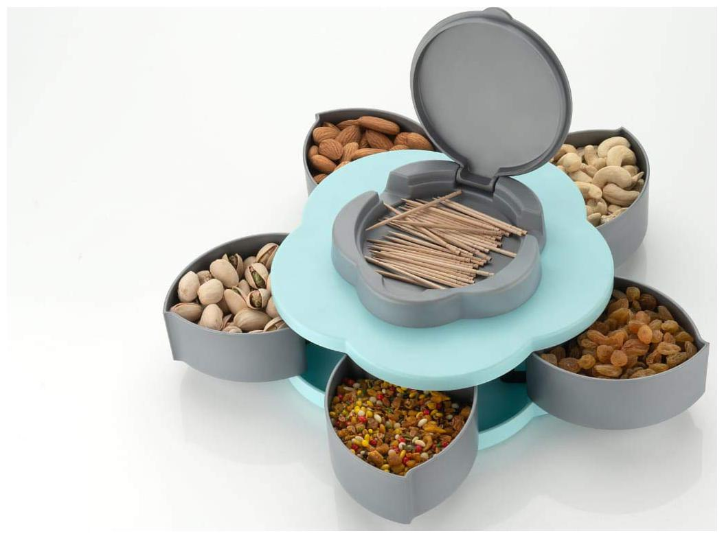 ROSELEAF 6 Compartments Flower Candy Box Serving Rotating Tray Dry Fruit, Candy,...