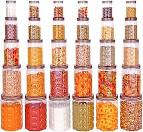 Roseleaf Plastic Jar Set of 30 ( 250 ml to 2000 ml , Grey  , Transparent )