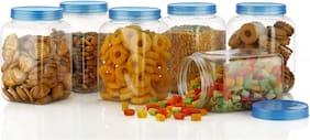 Roseleaf 1700 ml Blue Plastic Container Set - Set of 6