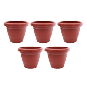 Round Plastic UV Treated Planters for Outdoor & Indoor Gardening 13 cm Terracotta Set of 5 without round bottom plate