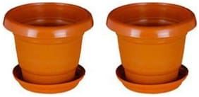 Round Plastic UV Treated Planters for Outdoor & Indoor Gardening 13 cm Terracotta Set of 2 with round bottom plate