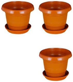 Round Plastic UV Treated Planters for Outdoor & Indoor Gardening 13 cm Terracotta Set of 3 with round bottom plate