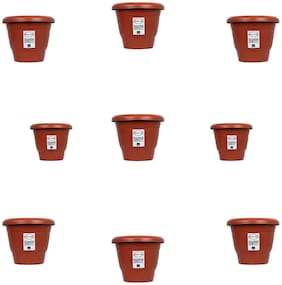 Round Plastic UV Treated Planters for Outdoor & Indoor Gardening 13 cm Terracotta Set of 9 without round bottom plate