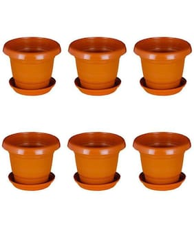 Round Plastic UV Treated Planters for Outdoor & Indoor Gardening 13 cm Terracotta Set of 9 with round bottom plate