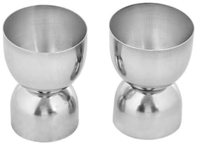 Round Shape Stainless Steel Jigger Shots Peg Measurer Set of 2Pcs- 30ml(1 Oz) & 60ml(2 Oz) Two Sided Sold By Evershine Gifts And Household