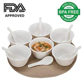 ROYALDEAL 100% MADE OF BEST QUALITY MODERN DESIGN & MULTIPLE USAGE DURABLE Polypropylene LEAD-FREE and NON-TOXIC Plastic Set of 6 Soup Bowls with 6 Spoons(12 PCs.)RANDOM COLORS