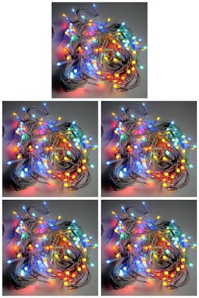 ROYALDEAL BY SET OF 5 100% NEW MADE OF HIGH QUALITY WATERPROOF 14 FT. INDOOR & OUTDOOR LED RGB (RED,GREEN,BLUE) FAIRY STRING LIGHTS [MULTI-COLOR]