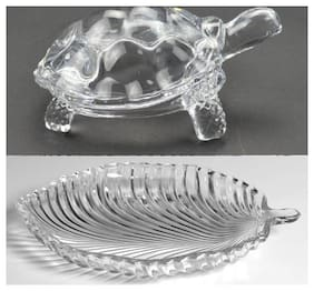 ROYALDEAL BY 100% Unique & Different Crystal Glass Turtle Tortoise with Leaf Plate for Good Luck & Wealth Creation for Feng Shui and Vastu Best Gift