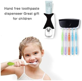 ROYALDEAL NEW MODEL ADHESIVE Plastic 2 Piece Squeezer Automatic Toothpaste Dispenser and Toothbrush Holder( Multi-color )