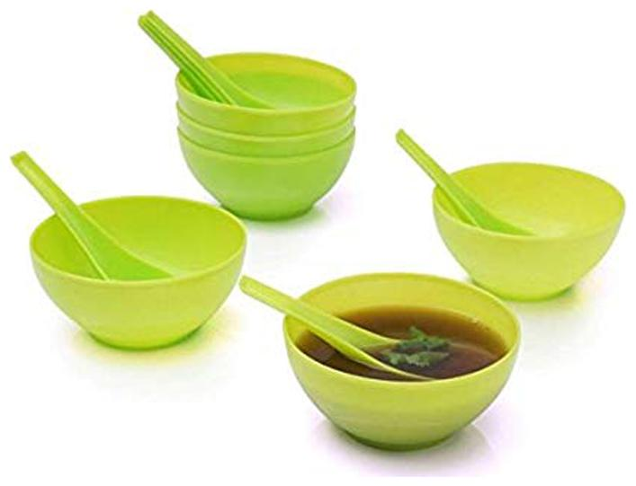 ROYALDEALSHOP MADE OF HIGH Quality Plastic Set of 6 Soup Bowls with 6 Spoons, Random Color  12 pcs