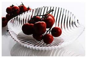 ROYALDEALSHOP MADE OF UNIQUE NEW DESIGN Lightweight Durable Home Utility - Glassware - Leaf Shape Serving Plate for Snacks/Fruits / Food Items / Fruit Plates (Transparent)