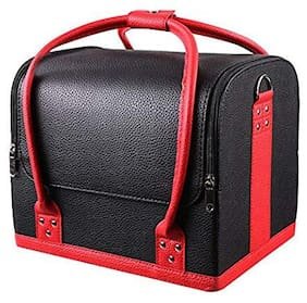 Royalkart Professional Large Removable PU Leather Cosmetic Makeup Vanity Box Jewellery Saloon Case Bag (Black)