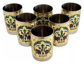 Royals Meena Worked Golden glass (6) -Tray Serving Set