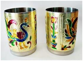 Royals pride Meenakari Serving Glass home de cor gift (Set 2)