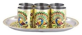 ROYALS SERVING TRAY WITH MATCHING 6-GLASSES SET- STAINLESS STEEL SILVER MEENAKARI - TILTED HEAD (TRAY SIZE : 21.20 cm (8.35 inch) x 31.36 cm (12.35 inch) x 2.20 cm (0.87 inch) & GLASS SIZ