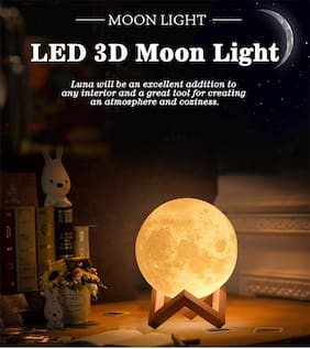 Royaltail Stylish 10cm Battery Operated Moon Light 3D Crystal Ball Night Light for Room Night Lamps Decoration Piece (with Stand)