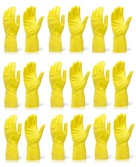 Rubber Waterproof Cleaning Household Gloves for Kitchen, Dish Washing, Laundry (Yellow) 9 Pair