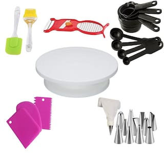 Rudreshwar Cake Turntable;Cake Decorating Kits;1 Cake Turning Table;2 Oil Brush And Spatula;8 Pcs. Measuring Cup Spoon;3 Plastic Dough Bench Scraper;12 Piece Cake Decorating Nozzle Set;1 - 4In1 Peeler