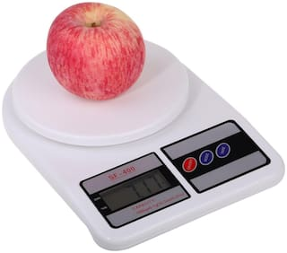 RUDRESHWAR Electronic Digital 10 kg Weight Scale LCD Kitchen Weight Scale Machine Measure for Measuring Fruits,Spice,Food,Vegetable and More (Sf-400) Weighing Scale (White) Weighing Scale