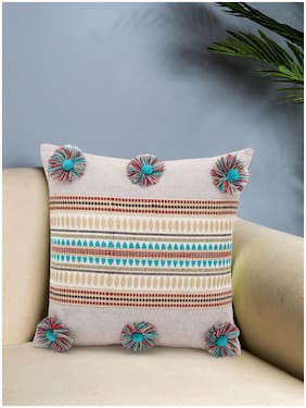 Rustic Collection by Mezposh : Beige & Multi Polycotton Chambray & Jacquard Colorblocked & Striped Cushion Cover with Pompoms (16x16in)