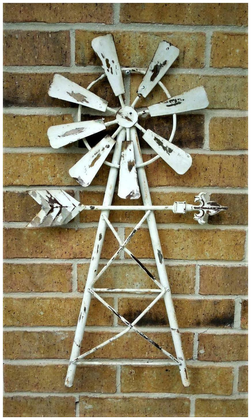 """Rustic Farmhouse Recycled Metal Windmill Wall Decor White Chippy Paint 12"""" Fan"""